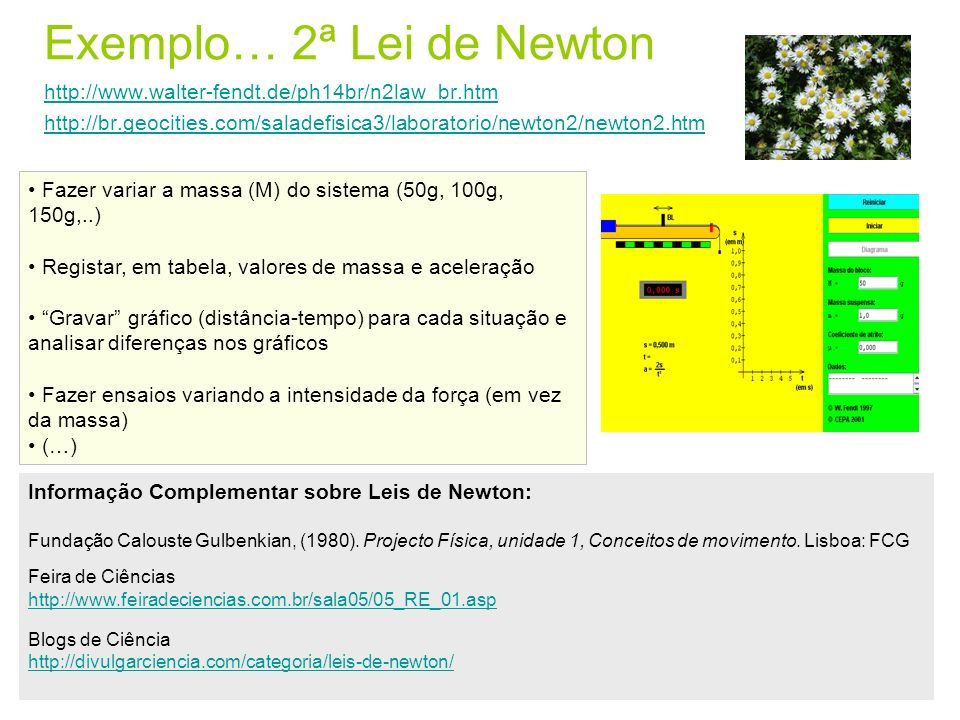 Exemplo… 2ª Lei de Newton http://www. walter-fendt. de/ph14br/n2law_br