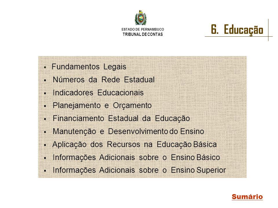 6. Educação Fundamentos Legais Números da Rede Estadual