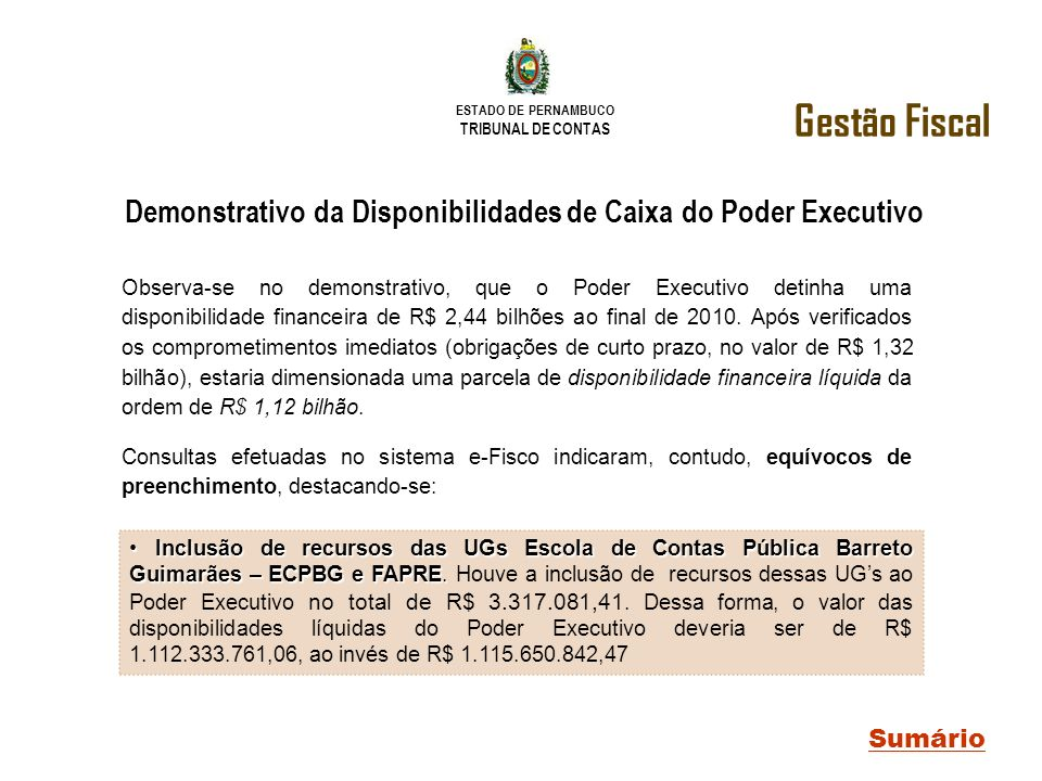 Demonstrativo da Disponibilidades de Caixa do Poder Executivo