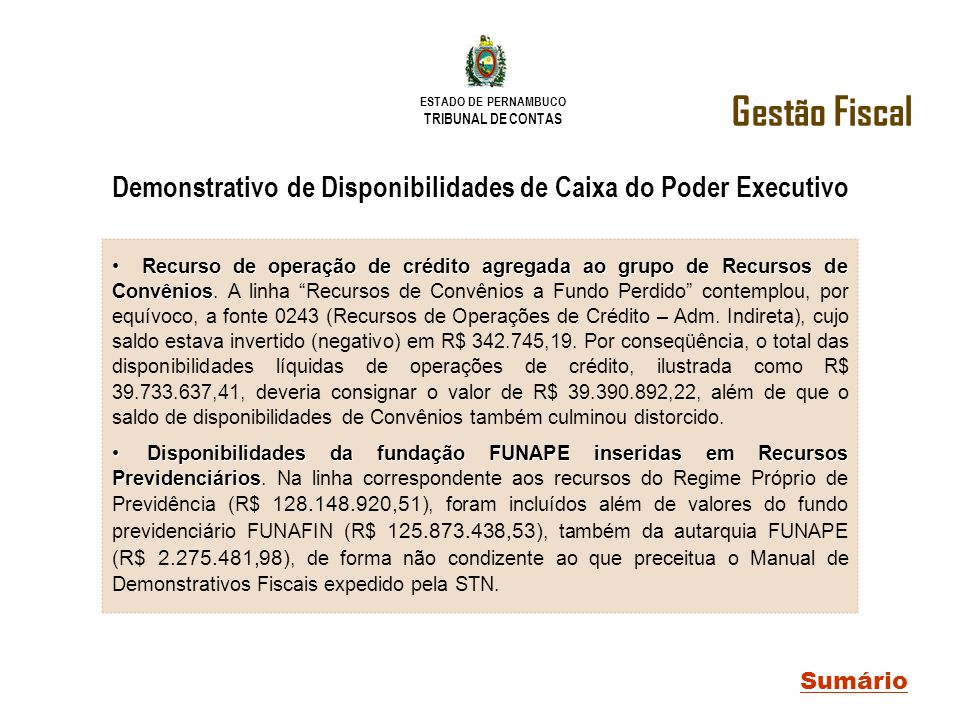Demonstrativo de Disponibilidades de Caixa do Poder Executivo