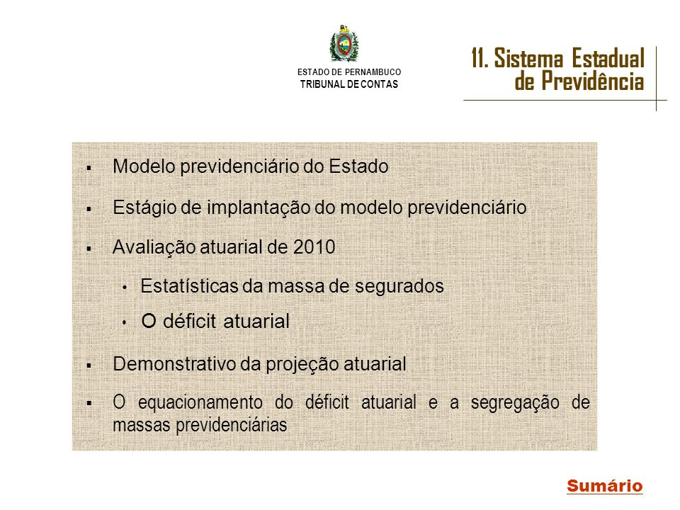 11. Sistema Estadual de Previdência