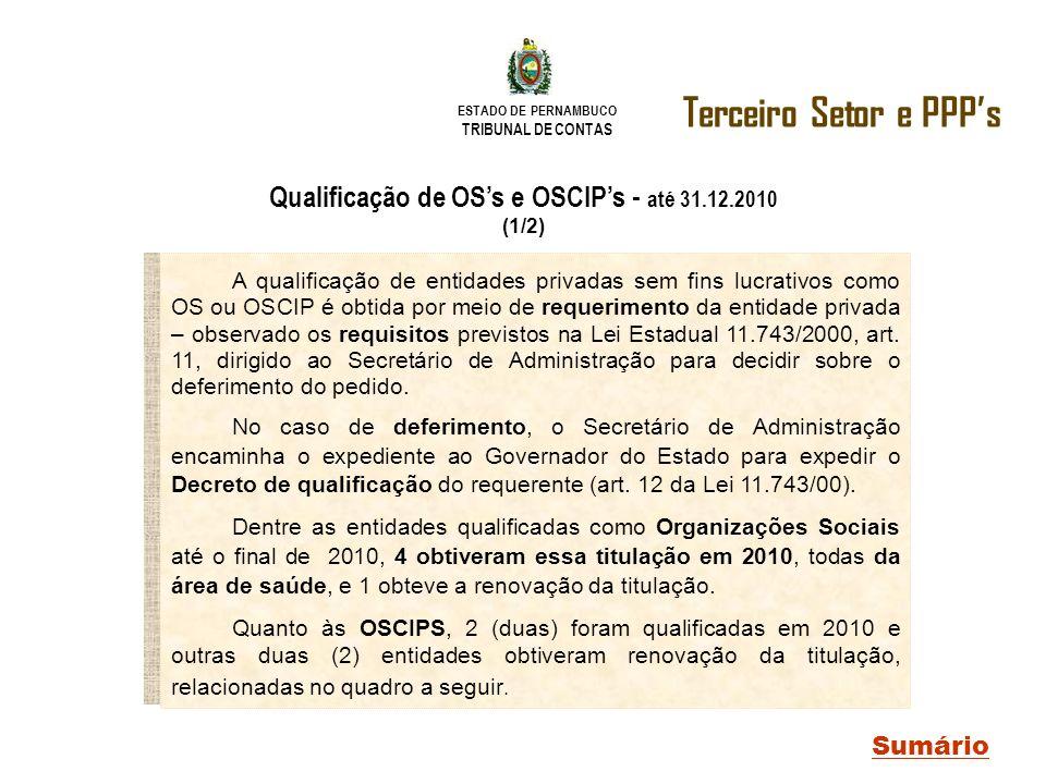 Qualificação de OS's e OSCIP's - até 31.12.2010