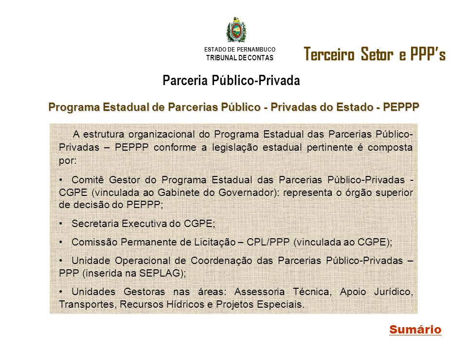 Terceiro Setor e PPP's Parceria Público-Privada Sumário