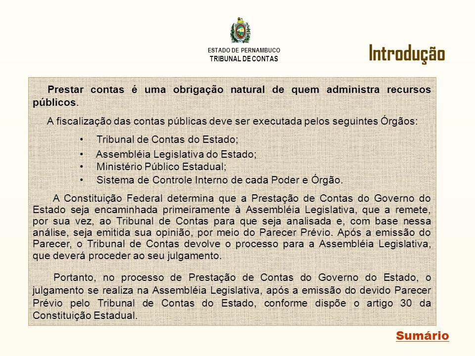 Introdução Prestar contas é uma obrigação natural de quem administra recursos públicos.