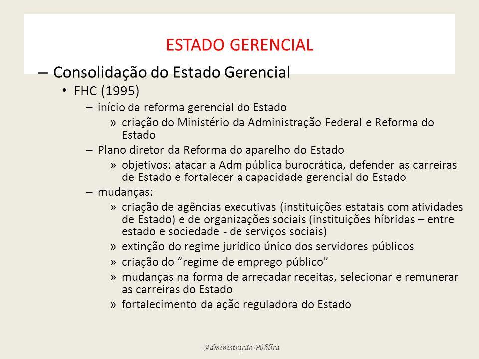 ESTADO GERENCIAL Consolidação do Estado Gerencial FHC (1995)