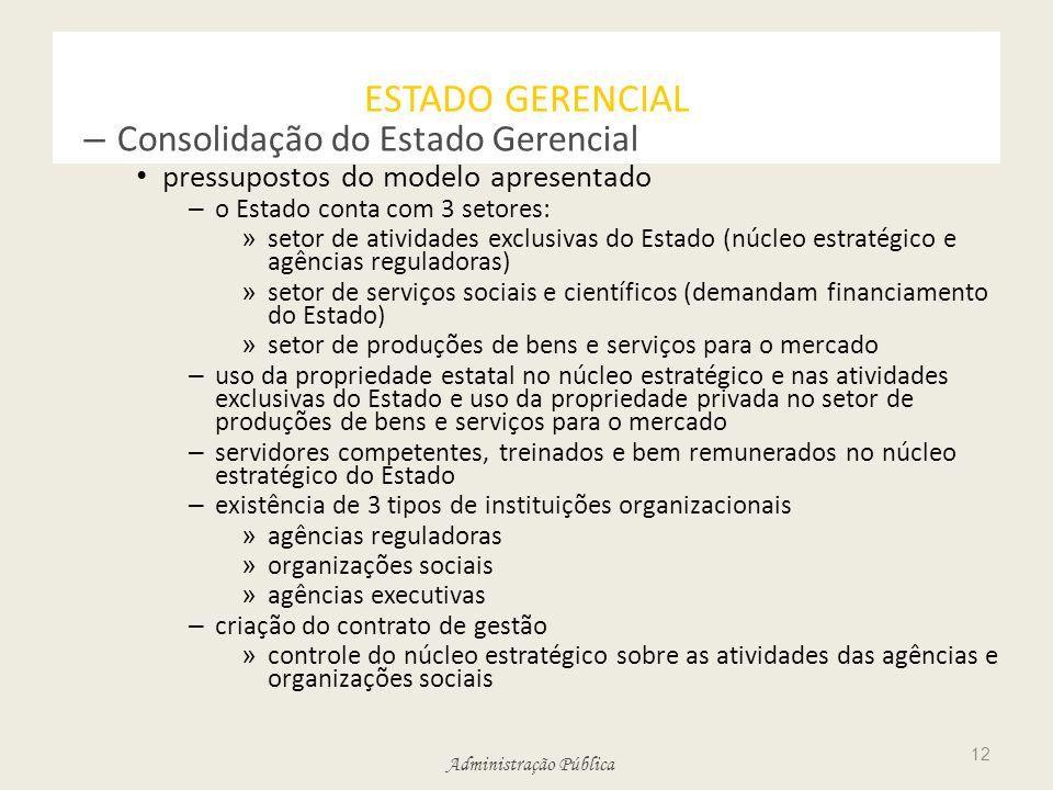 ESTADO GERENCIAL Consolidação do Estado Gerencial