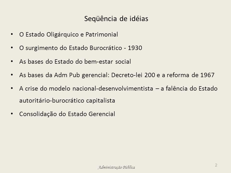 Seqüência de idéias O Estado Oligárquico e Patrimonial