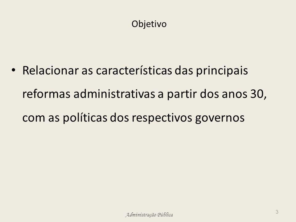 Objetivo Relacionar as características das principais reformas administrativas a partir dos anos 30, com as políticas dos respectivos governos.