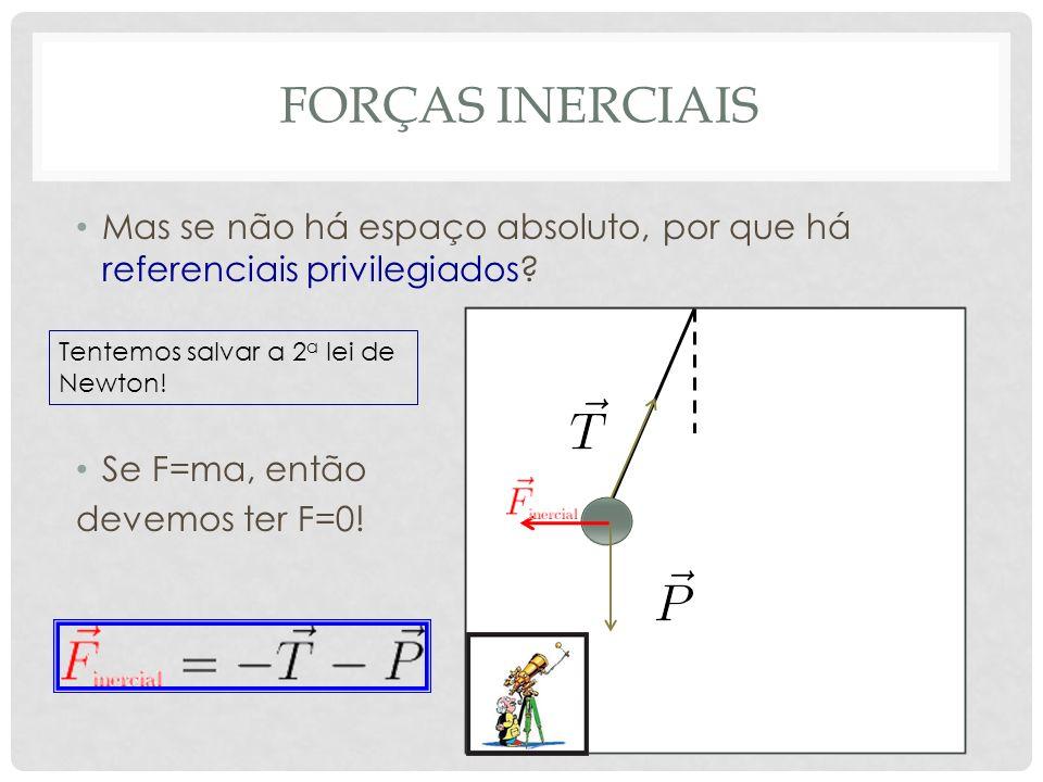 forças inerciais Mas se não há espaço absoluto, por que há referenciais privilegiados Se F=ma, então.