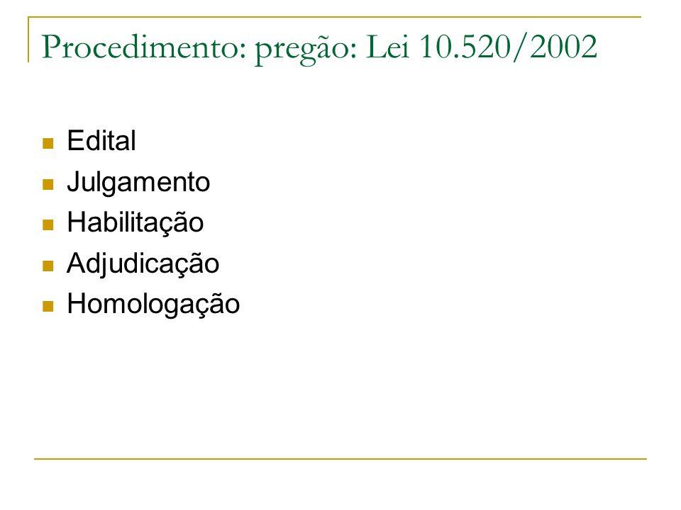 Procedimento: pregão: Lei 10.520/2002