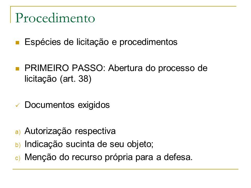 Procedimento Espécies de licitação e procedimentos