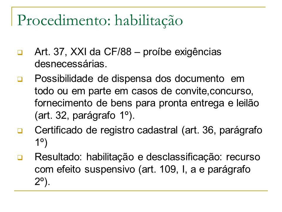 Procedimento: habilitação