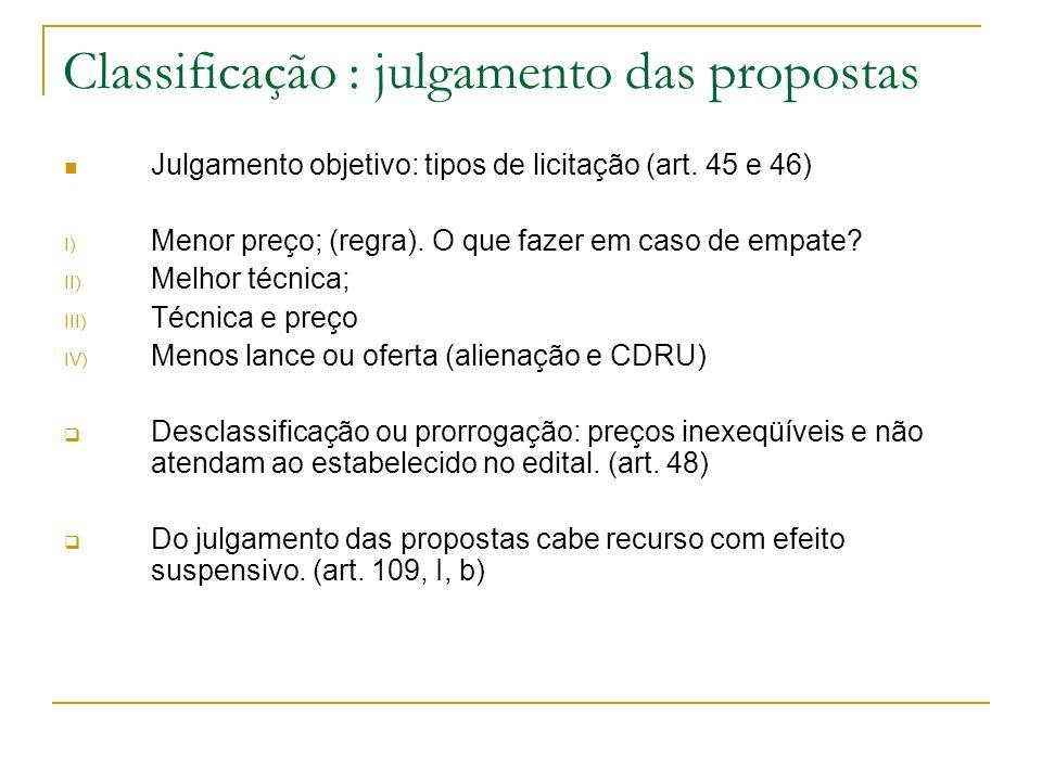 Classificação : julgamento das propostas