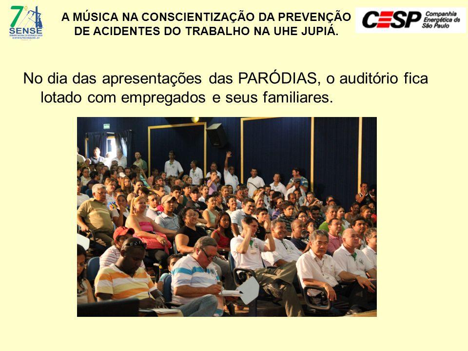No dia das apresentações das PARÓDIAS, o auditório fica lotado com empregados e seus familiares.