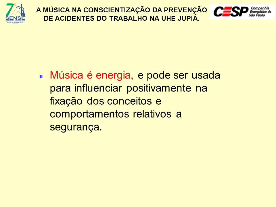 Música é energia, e pode ser usada para influenciar positivamente na fixação dos conceitos e comportamentos relativos a segurança.