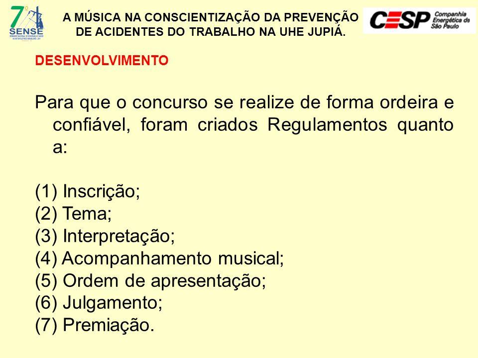 (4) Acompanhamento musical; (5) Ordem de apresentação; (6) Julgamento;