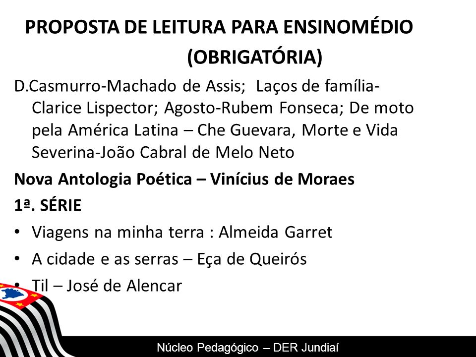PROPOSTA DE LEITURA PARA ENSINOMÉDIO