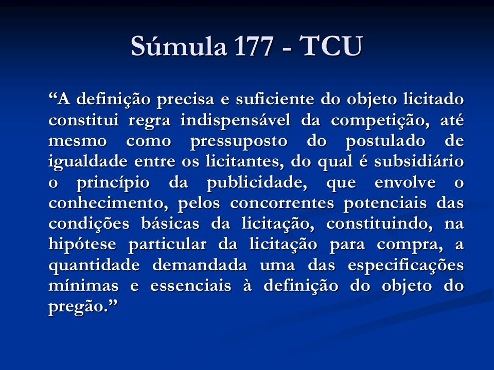 Súmula 177 - TCU