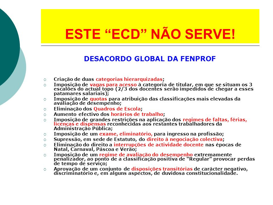 DESACORDO GLOBAL DA FENPROF