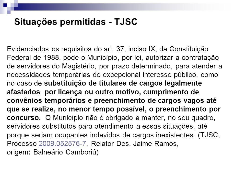 Situações permitidas - TJSC