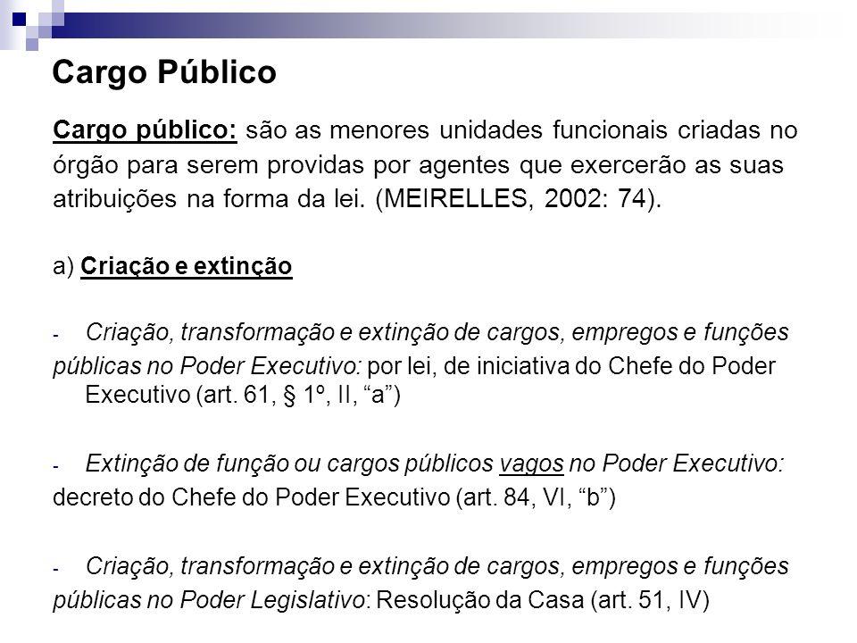 Cargo Público Cargo público: são as menores unidades funcionais criadas no. órgão para serem providas por agentes que exercerão as suas.