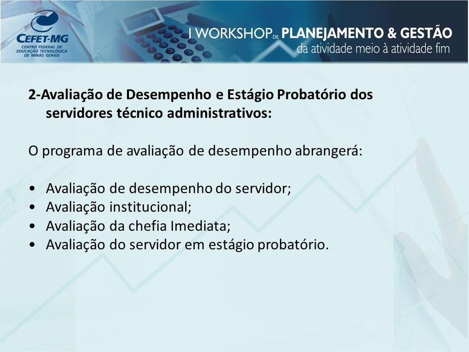 2-Avaliação de Desempenho e Estágio Probatório dos servidores técnico administrativos: