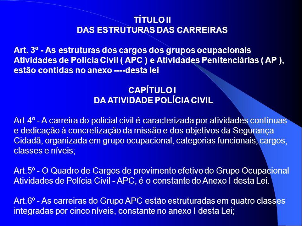 DAS ESTRUTURAS DAS CARREIRAS DA ATIVIDADE POLÍCIA CIVIL