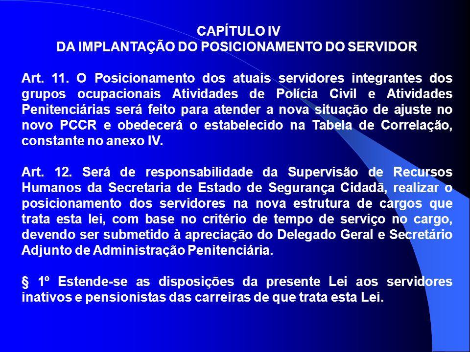 DA IMPLANTAÇÃO DO POSICIONAMENTO DO SERVIDOR