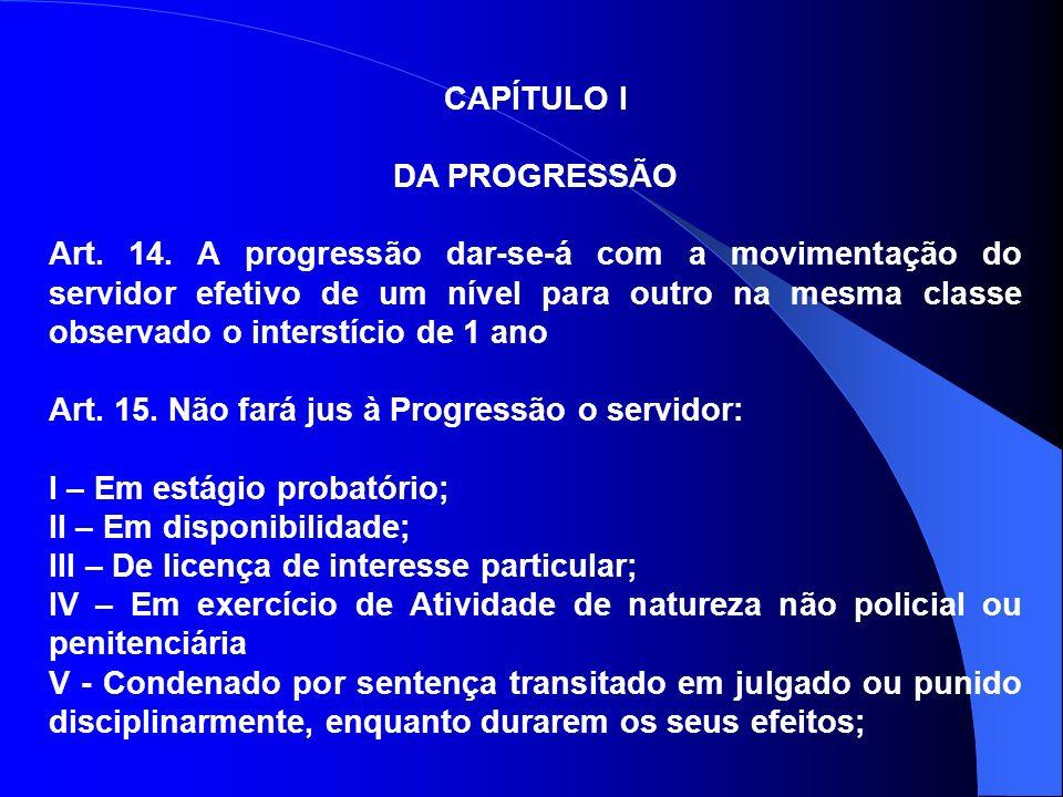 CAPÍTULO I DA PROGRESSÃO.