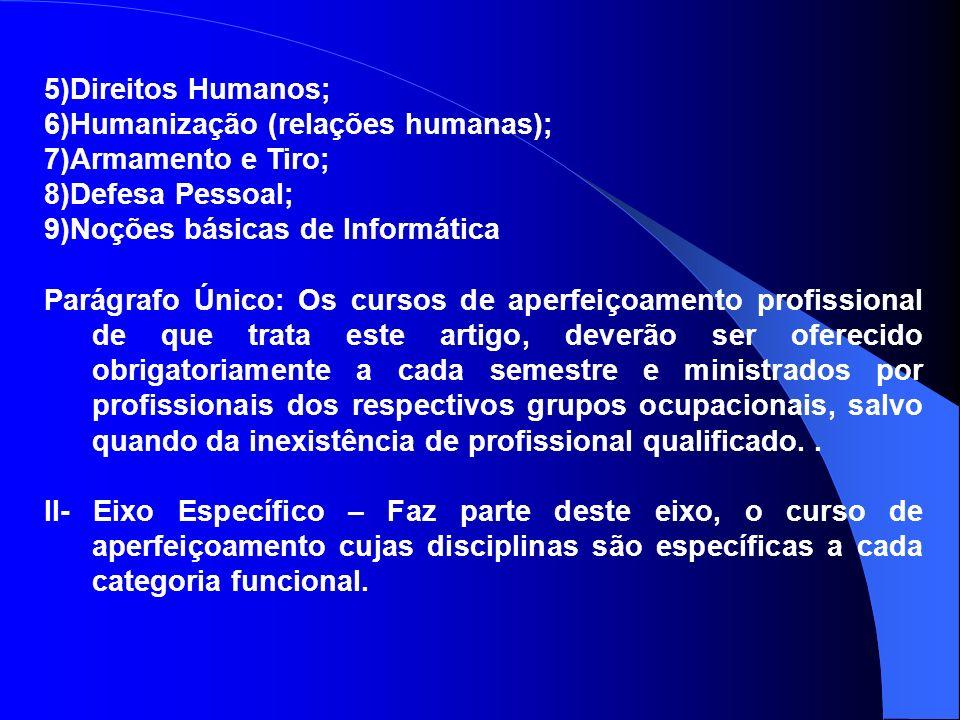 5)Direitos Humanos; 6)Humanização (relações humanas); 7)Armamento e Tiro; 8)Defesa Pessoal; 9)Noções básicas de Informática.