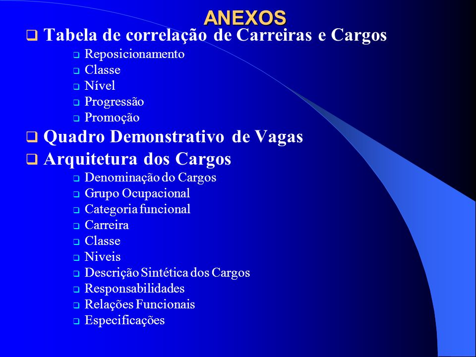 ANEXOS Tabela de correlação de Carreiras e Cargos