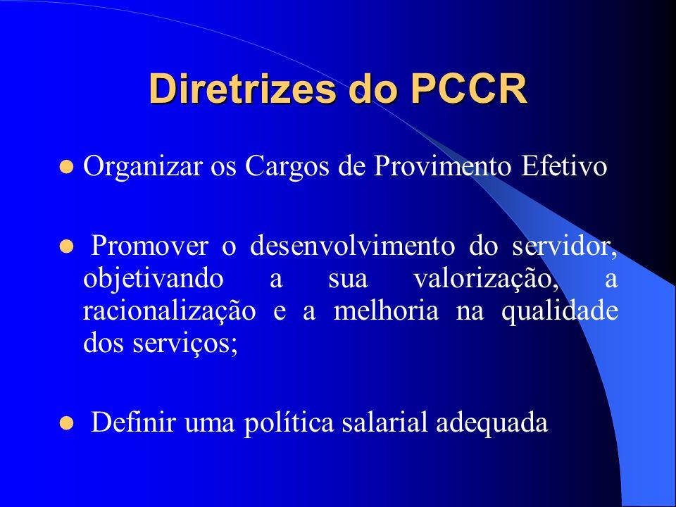 Diretrizes do PCCR Organizar os Cargos de Provimento Efetivo