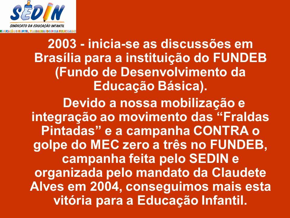 2003 - inicia-se as discussões em Brasília para a instituição do FUNDEB (Fundo de Desenvolvimento da Educação Básica).