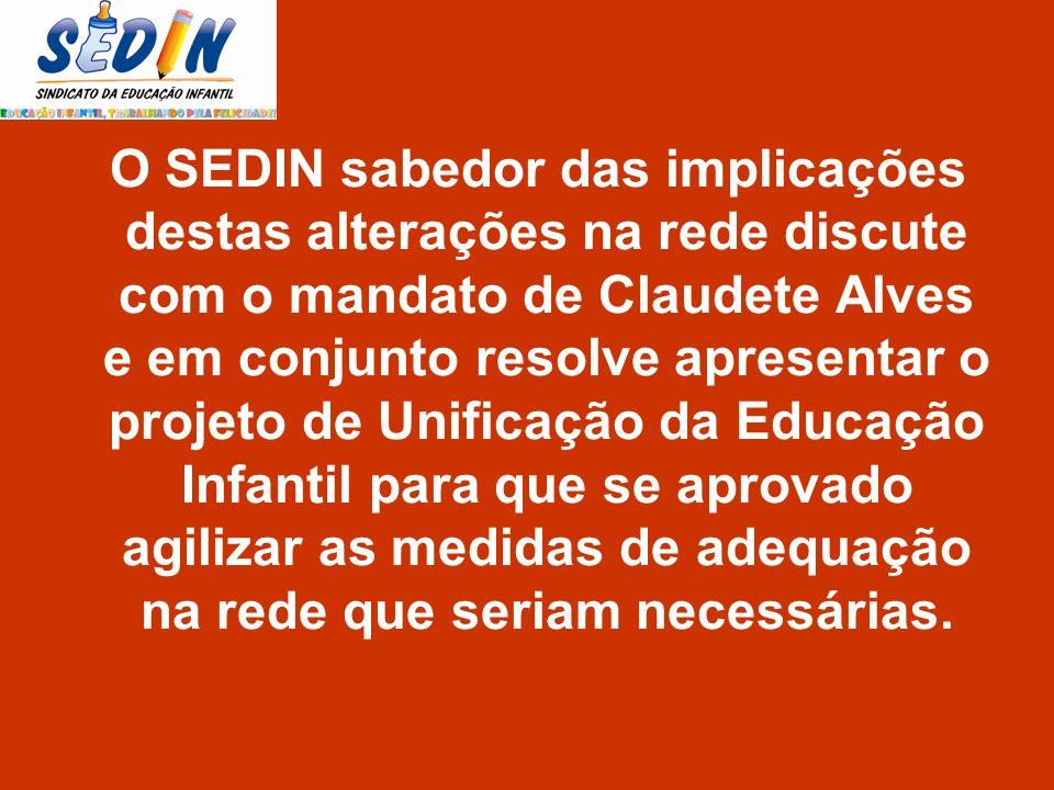 O SEDIN sabedor das implicações destas alterações na rede discute com o mandato de Claudete Alves e em conjunto resolve apresentar o projeto de Unificação da Educação Infantil para que se aprovado agilizar as medidas de adequação na rede que seriam necessárias.