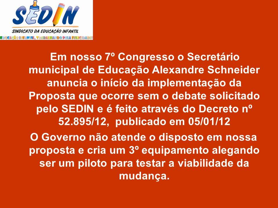 Em nosso 7º Congresso o Secretário municipal de Educação Alexandre Schneider anuncia o início da implementação da Proposta que ocorre sem o debate solicitado pelo SEDIN e é feito através do Decreto nº 52.895/12, publicado em 05/01/12