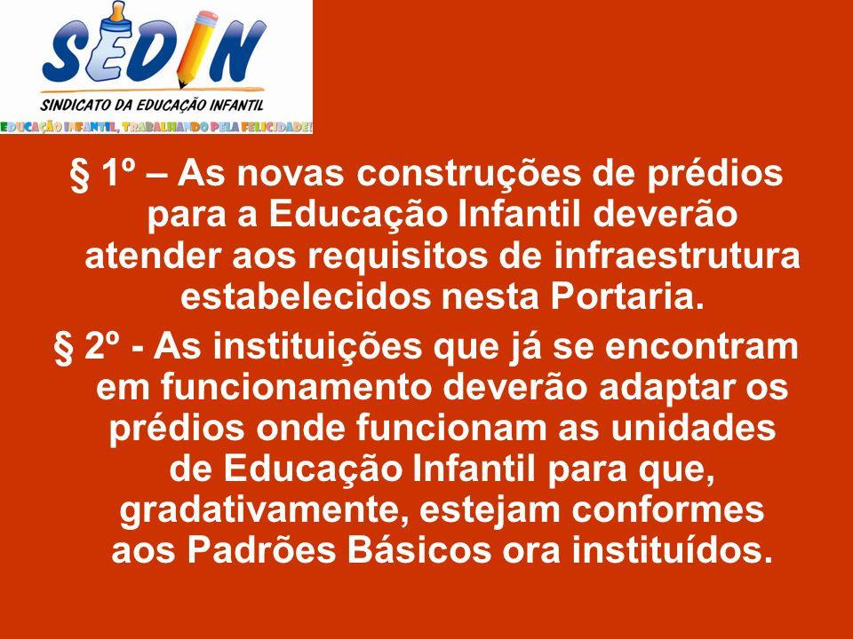 § 1º – As novas construções de prédios para a Educação Infantil deverão atender aos requisitos de infraestrutura estabelecidos nesta Portaria.