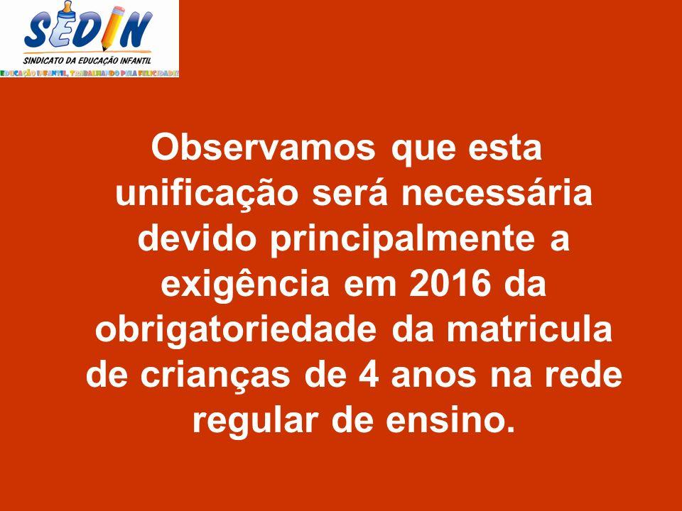 Observamos que esta unificação será necessária devido principalmente a exigência em 2016 da obrigatoriedade da matricula de crianças de 4 anos na rede regular de ensino.