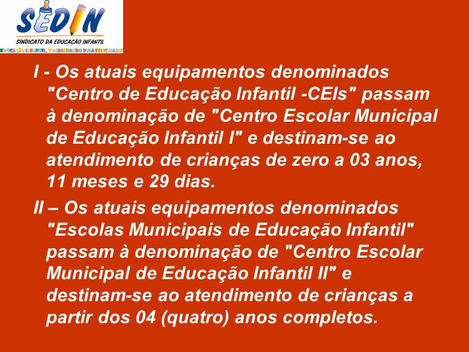 I - Os atuais equipamentos denominados Centro de Educação Infantil -CEIs passam à denominação de Centro Escolar Municipal de Educação Infantil I e destinam-se ao atendimento de crianças de zero a 03 anos, 11 meses e 29 dias.
