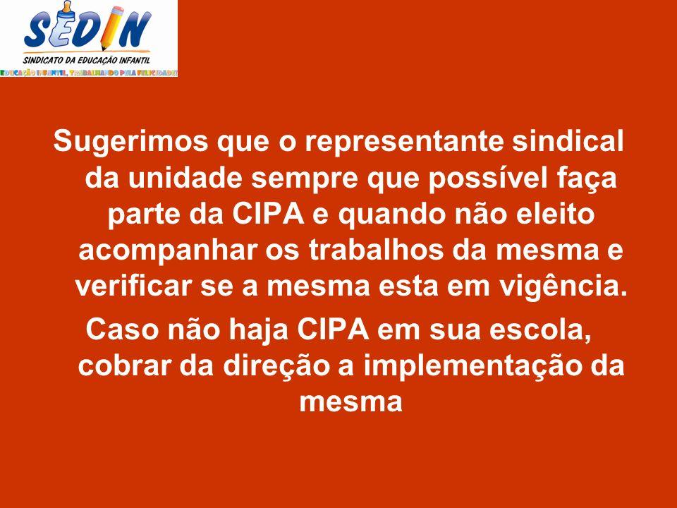 Sugerimos que o representante sindical da unidade sempre que possível faça parte da CIPA e quando não eleito acompanhar os trabalhos da mesma e verificar se a mesma esta em vigência.
