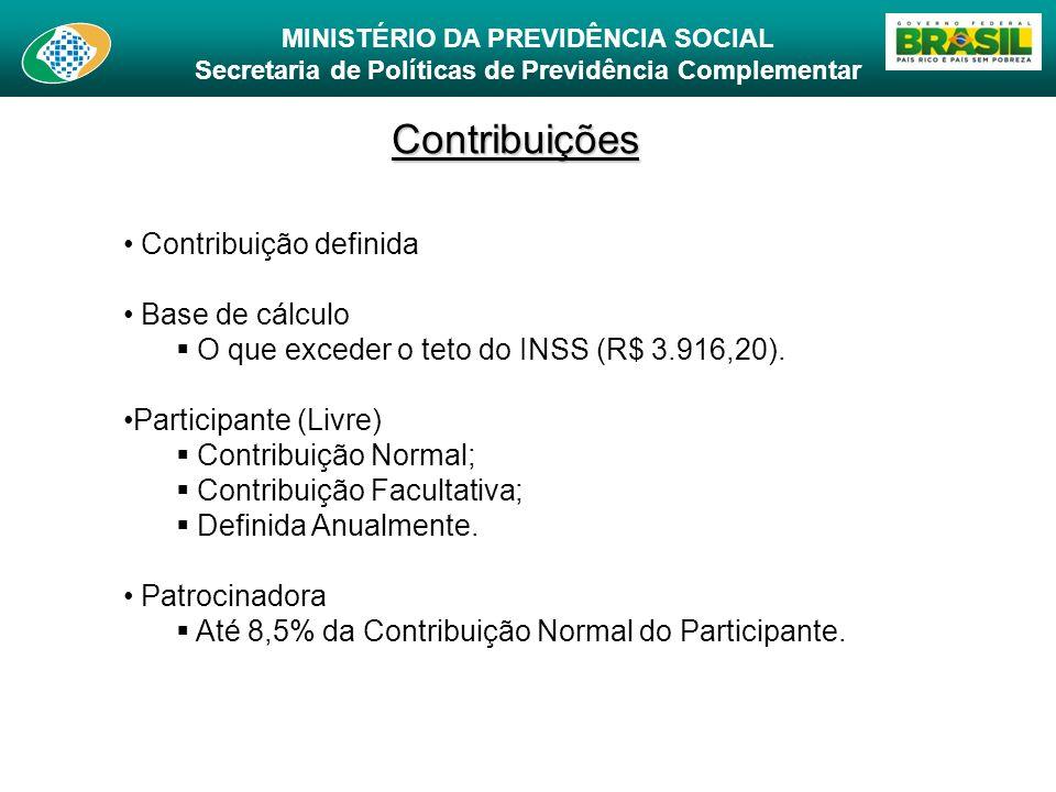 Contribuições Contribuição definida Base de cálculo