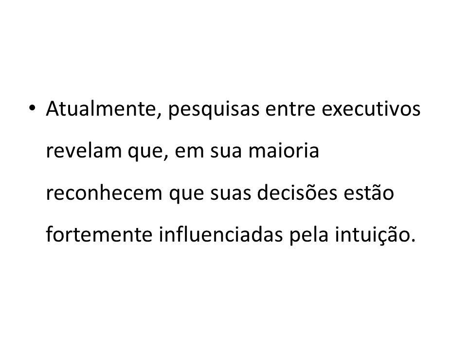 Atualmente, pesquisas entre executivos revelam que, em sua maioria reconhecem que suas decisões estão fortemente influenciadas pela intuição.