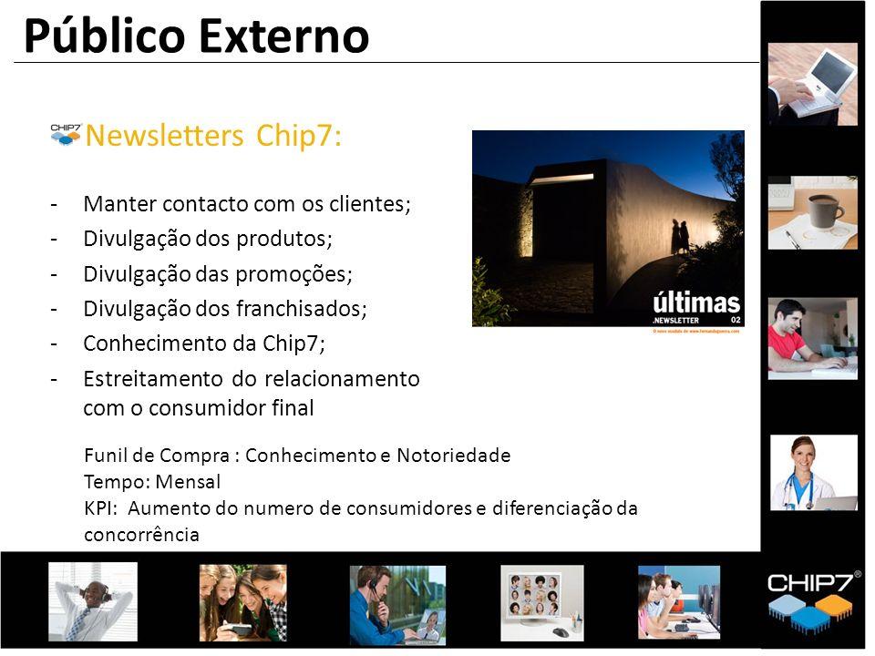 Público Externo Newsletters Chip7: Manter contacto com os clientes;