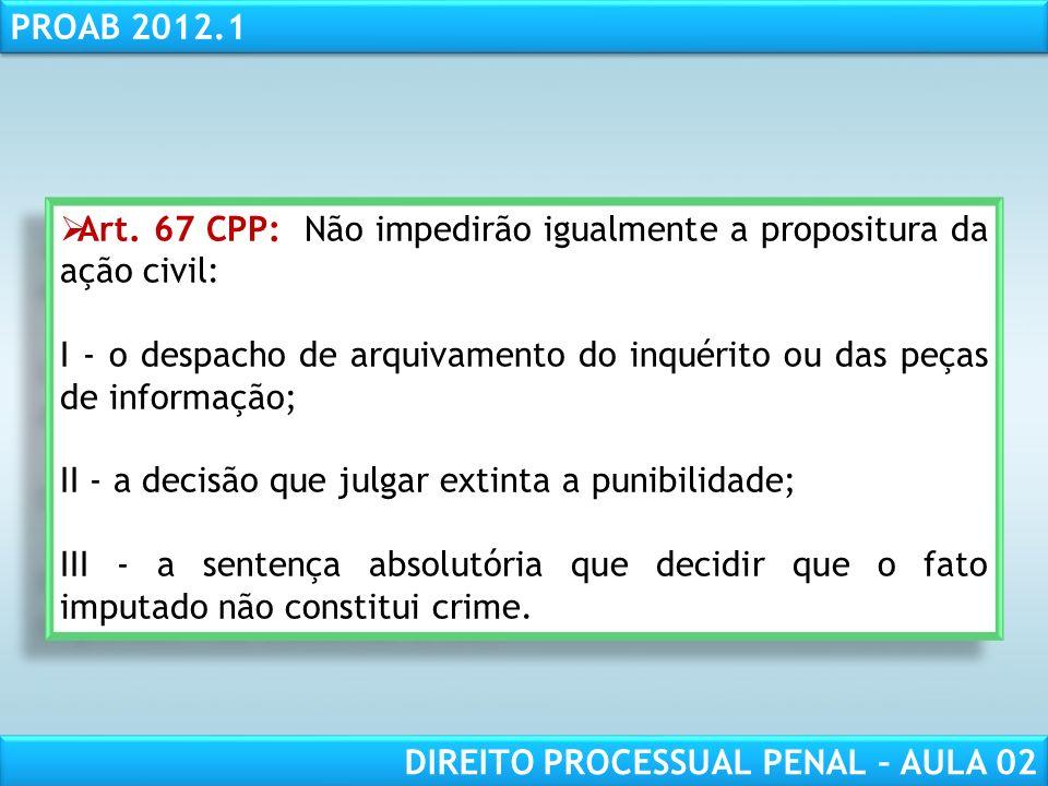 Art. 67 CPP: Não impedirão igualmente a propositura da ação civil: