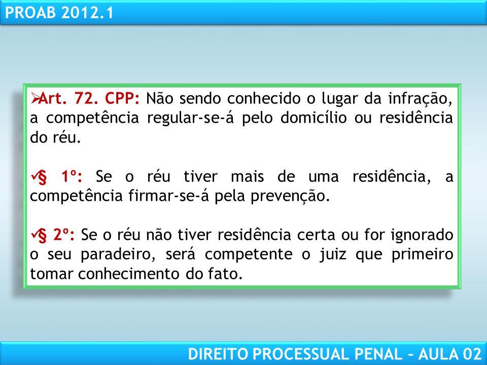 Art. 72. CPP: Não sendo conhecido o lugar da infração, a competência regular-se-á pelo domicílio ou residência do réu.