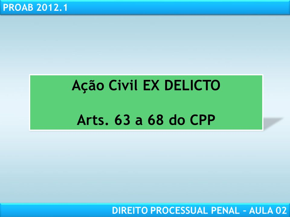 Ação Civil EX DELICTO Arts. 63 a 68 do CPP
