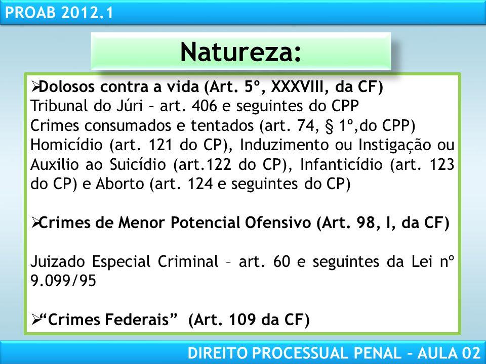 Natureza: Dolosos contra a vida (Art. 5º, XXXVIII, da CF)