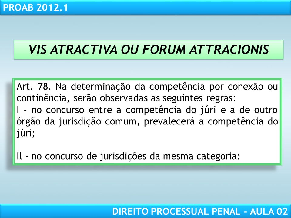 VIS ATRACTIVA OU FORUM ATTRACIONIS