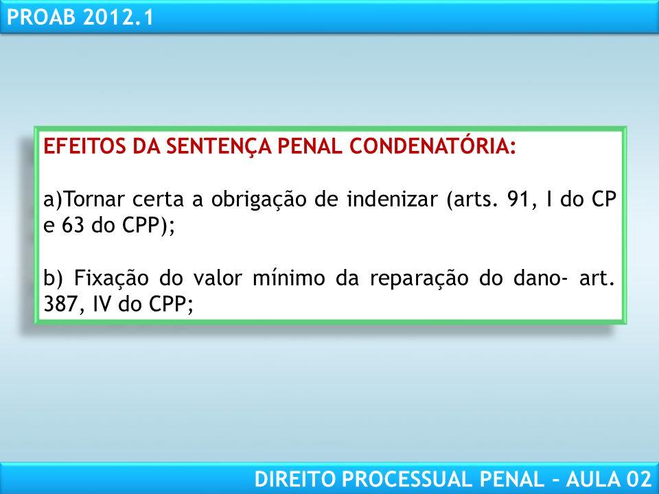 EFEITOS DA SENTENÇA PENAL CONDENATÓRIA: