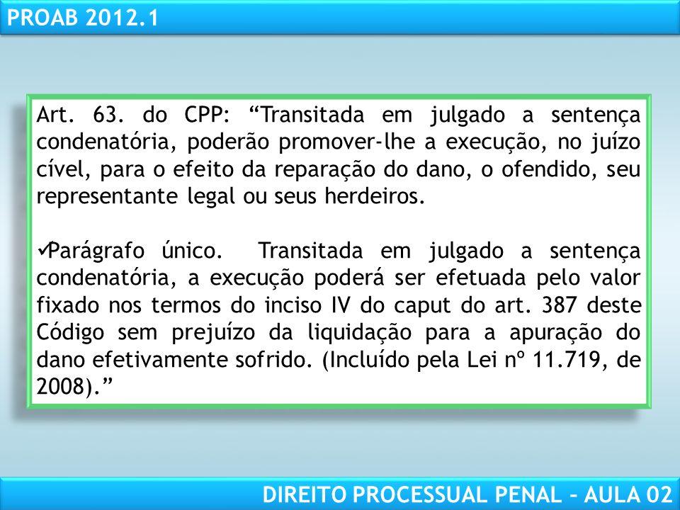 Art. 63. do CPP: Transitada em julgado a sentença condenatória, poderão promover-lhe a execução, no juízo cível, para o efeito da reparação do dano, o ofendido, seu representante legal ou seus herdeiros.