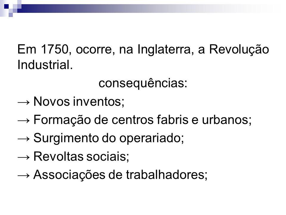 Em 1750, ocorre, na Inglaterra, a Revolução Industrial